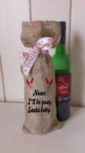 Personalized I'll be you santa baby Wine Father Christmas Xmas Santa Sack / Stocking Bag Jute Hessian.